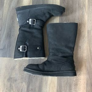 Worn ONCE!  Black Motorcycle Ugg Boots!